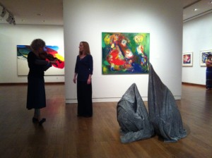 Ellen and violinist Dorothy Martirano doing an improv with dancers Kristin McCoy and Rhea Speights (in bags).