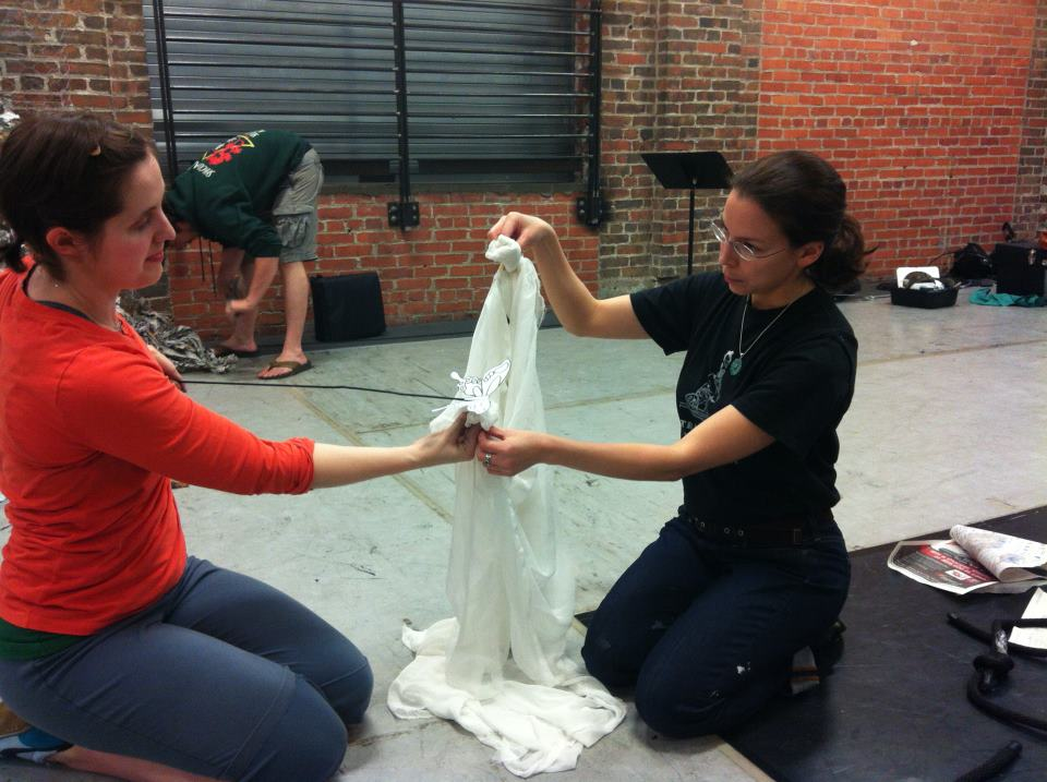 Leila working on a new puppet with Ashley in 2012.
